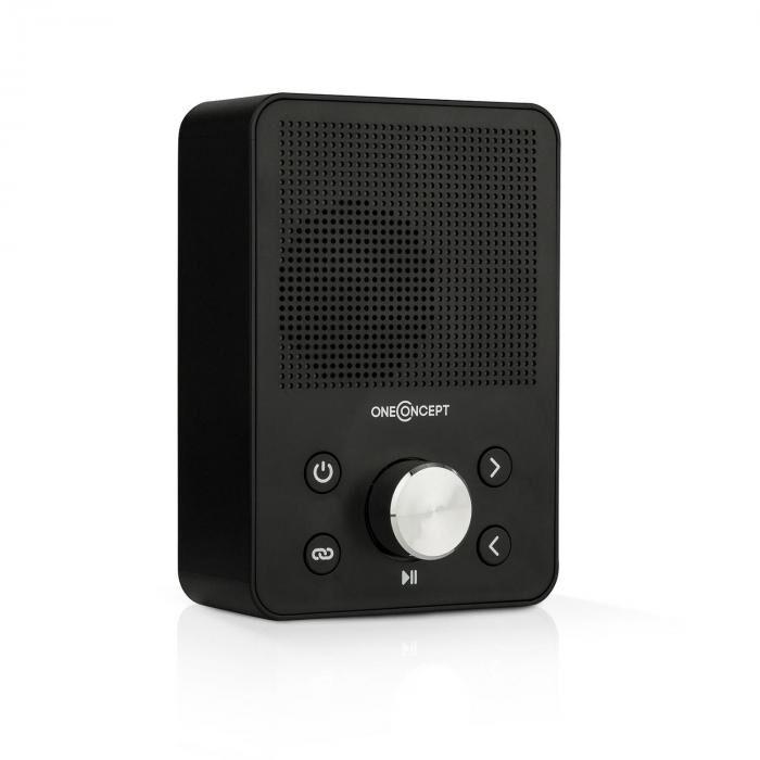 OneConcept Plug+Play FM pistokeradio, FM-radio, USB, bluetooth, musta
