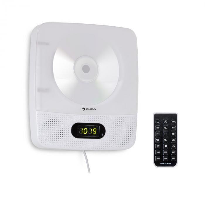 Auna Vertiplay CD-Player Bluetooth yövalo radio AUX digitaalinen kello valkoinen