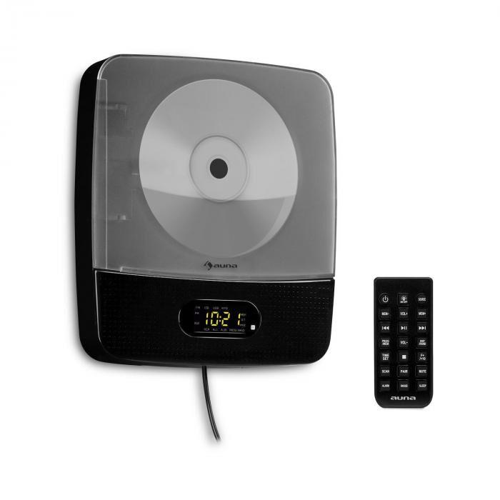 Auna Vertiplay CD-Player Bluetooth yövalo radio AUX digitaalinen kello musta
