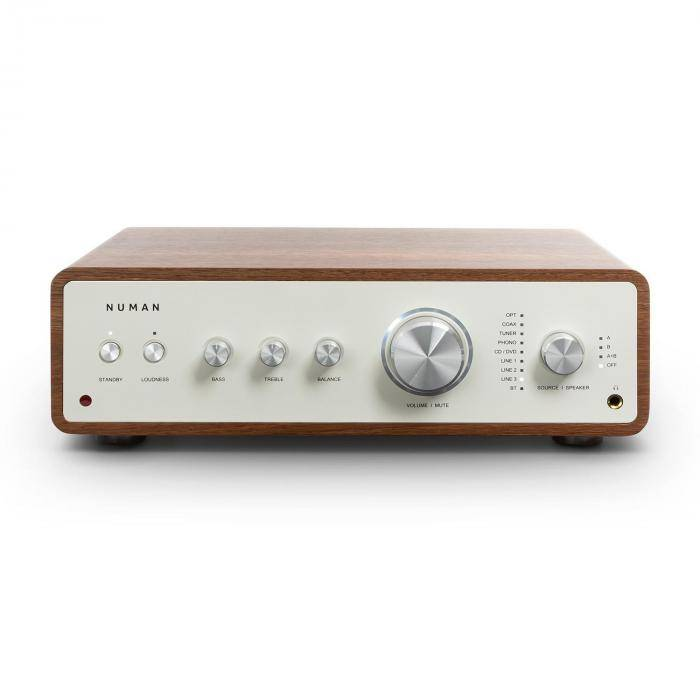 Numan Drive digitaalinen stereovahvistin 2 x 170 W / 4 x 85 W RMS AUX/phono/coax saksanpähkinä