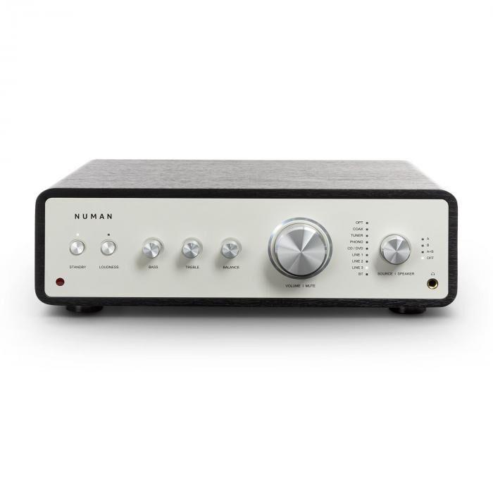 Numan Drive digitaalinen stereovahvistin 2 x 170 W / 4 x 85 W RMS AUX/phono/coax musta