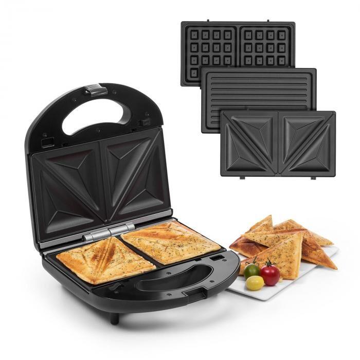Klarstein Trilit 3-in-1 Sandwich Maker 750w 3 grillilevyä LED tarttumaton pinta musta