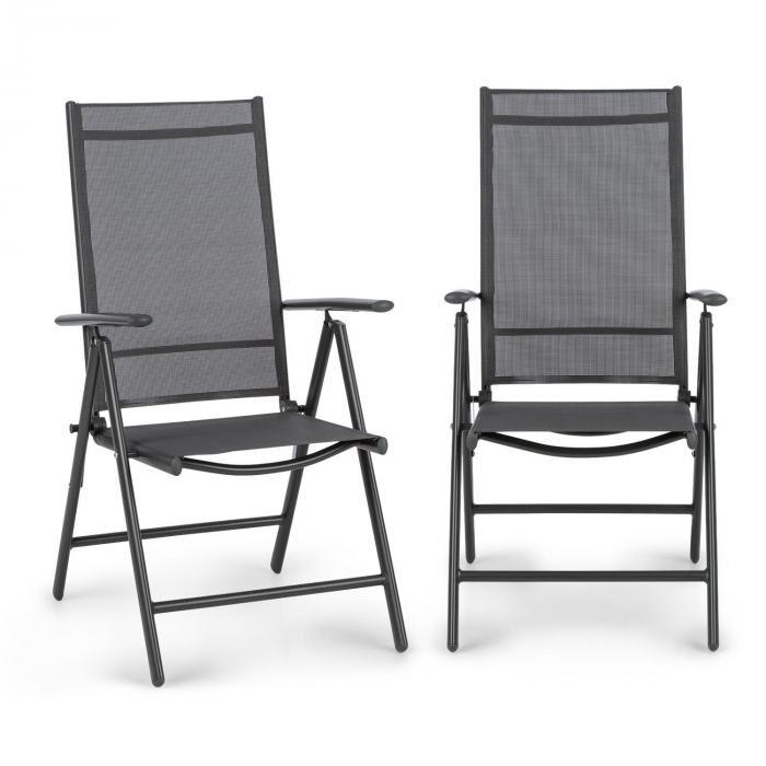 Blumfeldt Almeria taitettava tuoli 2:n setti 59,5 x 107 x 68 cm ComfortMesh antrasiitti