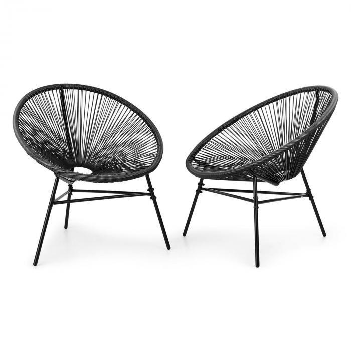Blumfeldt Las Brisas -tuolit kahden setti retrodesign 4 mm -punos musta