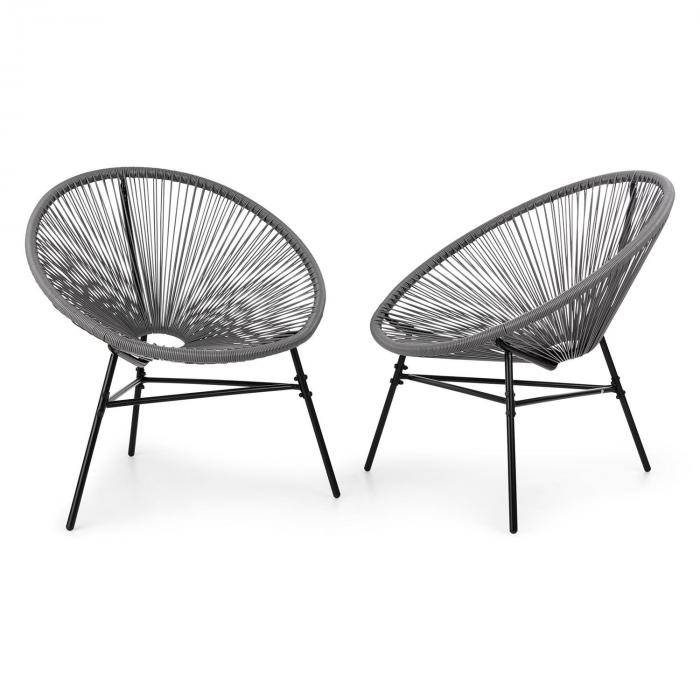 Blumfeldt Las Brisas -tuolit kahden setti retrodesign 4 mm -punos harmaa