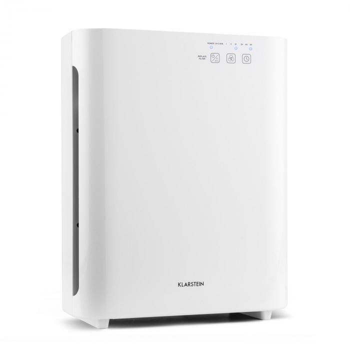 Klarstein Vita Pure 2G ilmanpuhdistin ionisaattori   5-vaiheinen HEPA suodatin: 99,97% suodatusteho yhdistelmäsuodattimen   50 m²   30dB   55 W   UV-C   kosketus   valkoinen