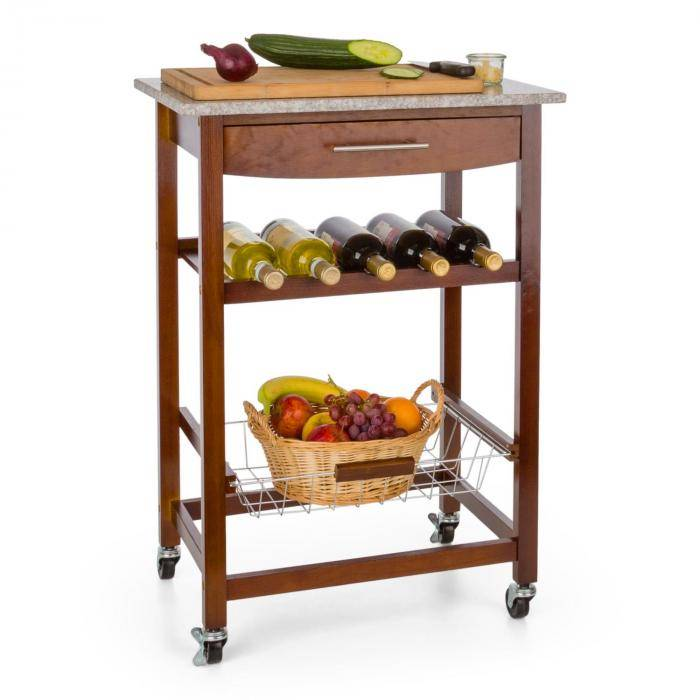 Klarstein Zimmerservice tarjoiluvaunu keittiövaunu viinihylly graniittilevy ruskea