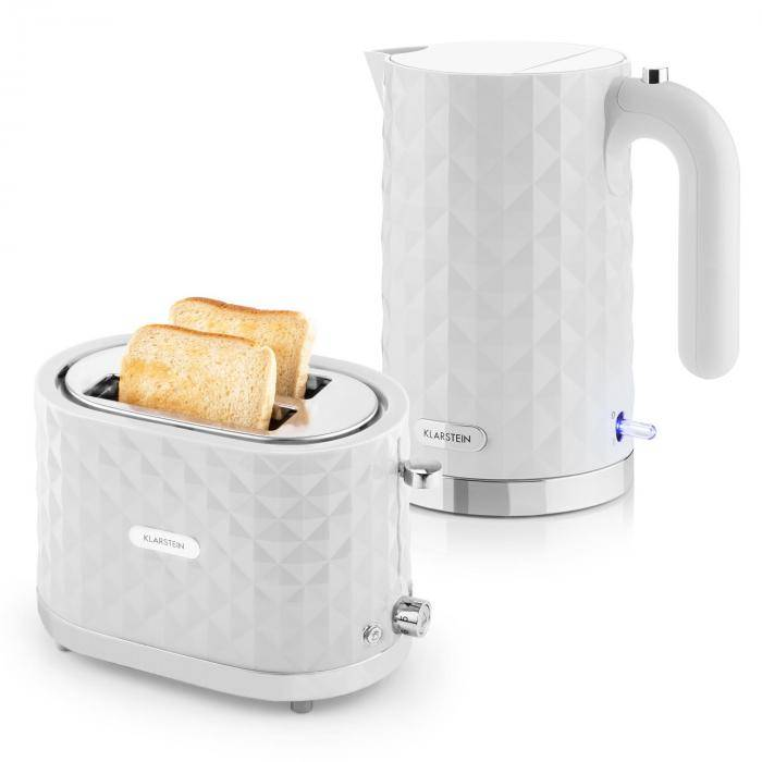 Klarstein Granada aamiassetti 2000W vedenkeitin   1000W leivänpaahdin -valkoinen