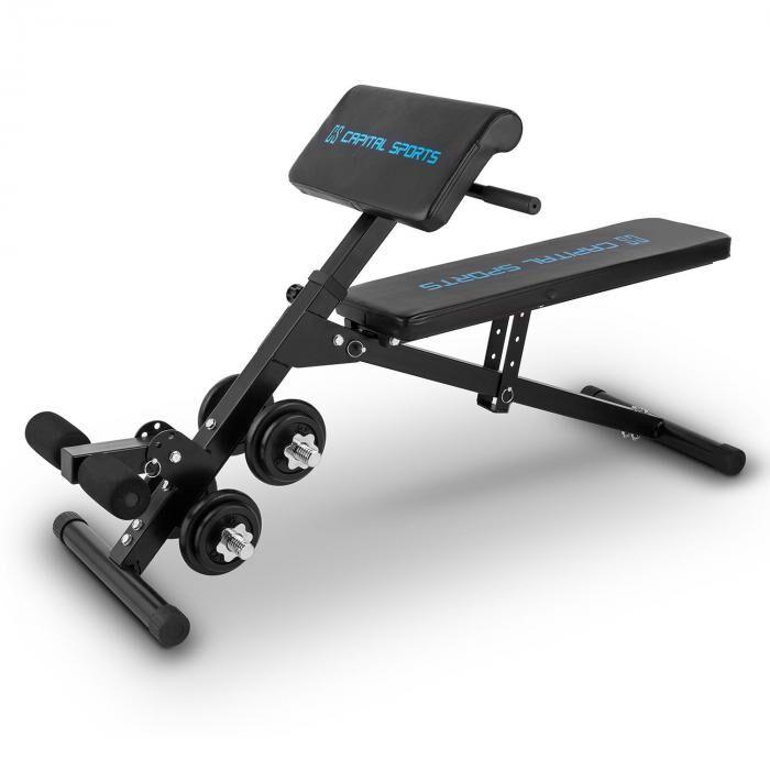 Image of Capital Sports Sit'n Curl vatsalihas- ja hauispenkki säädettävä 20 kg käsipainot