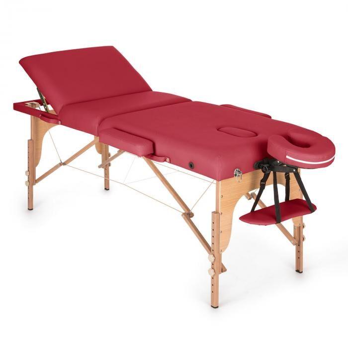 KLARFIT MT 500 hierontapöytä 210 cm 200 kg taitettava vaahtomuovi kassi punainen