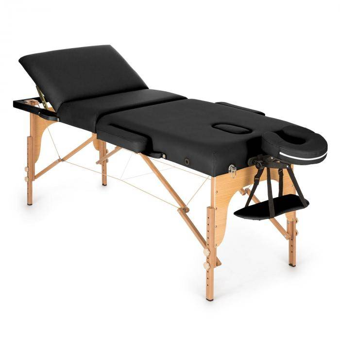 KLARFIT MT 500 hierontapöytä 210 cm 200 kg taitettava vaahtomuovi kassi musta
