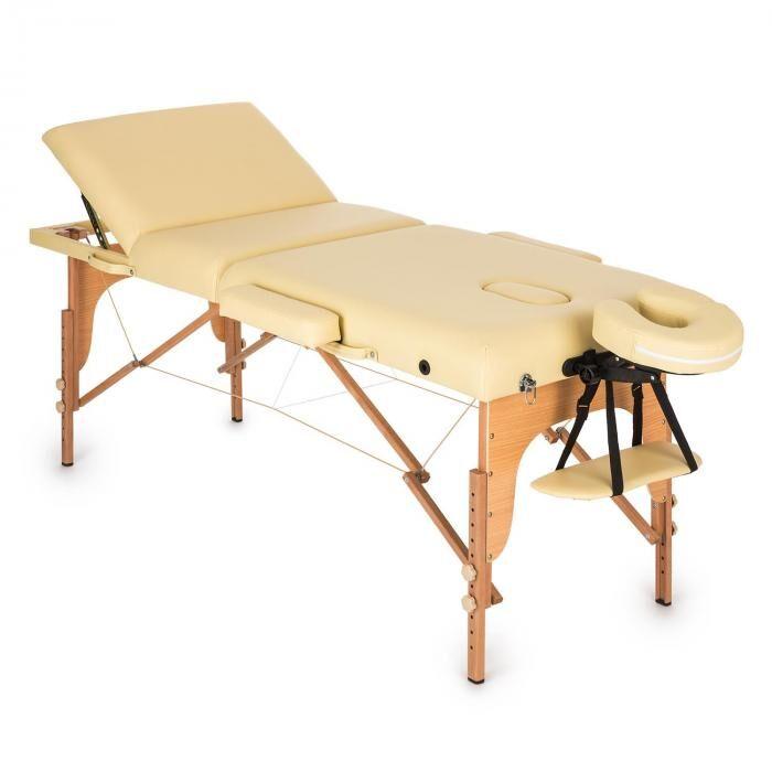 KLARFIT MT 500 hierontapöytä 210 cm 200 kg taitettava vaahtomuovi kassi beige