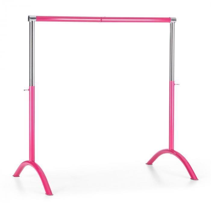 KLARFIT Balettitanko liikutettava 110 x 113cm säädettävä korkeus terästä pinkki