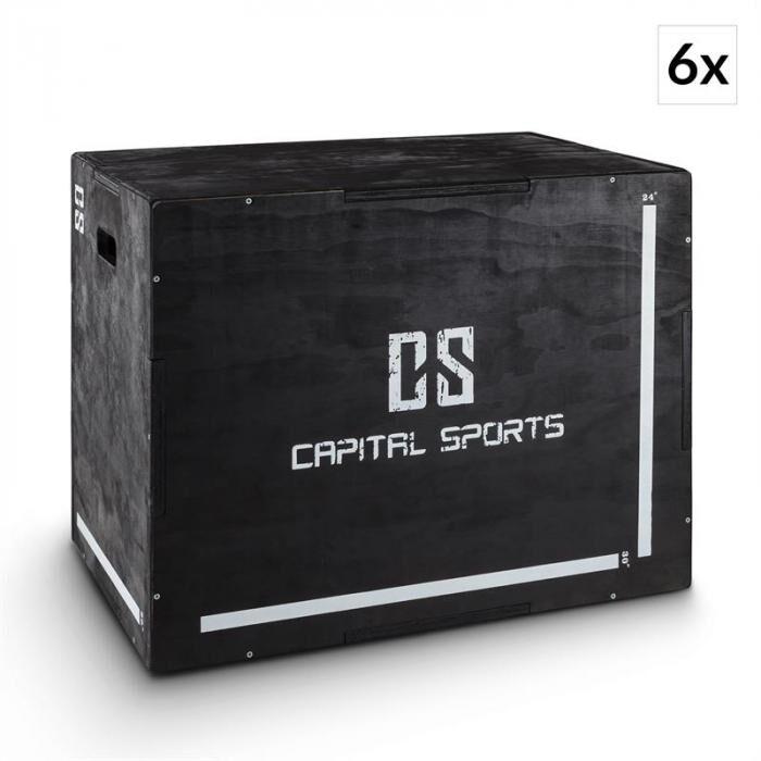 "Capital Sports Shineater BK plyobox 3 korkeudet 20"" 24"" 30"" puuta musta"