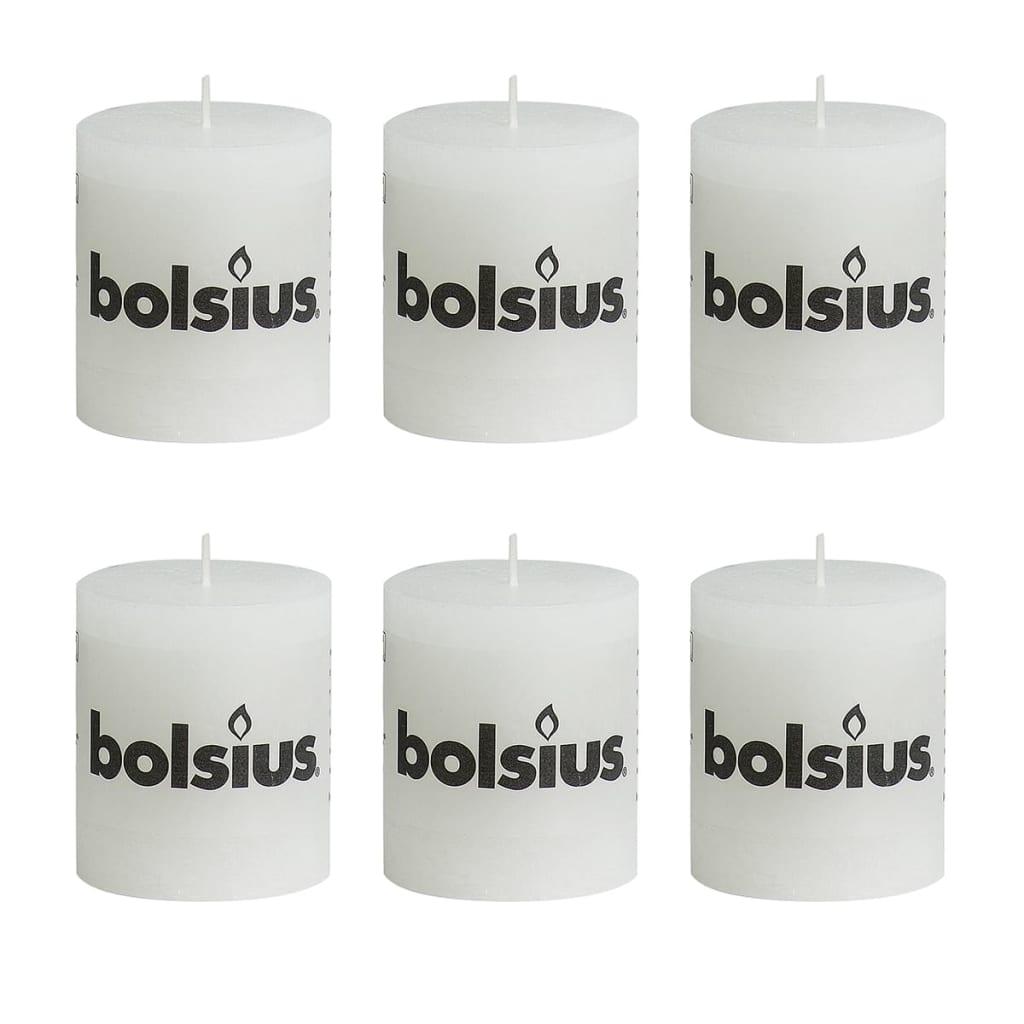 Bolsius Rustiikki Pilarikynttilä 80 x 68 mm Valkoinen 6 kpl