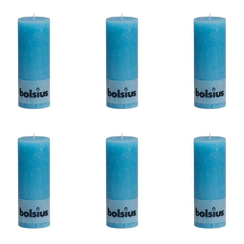 Bolsius Pilarikynttilät 6 kpl rustiikkinen 190x68 mm Sininen