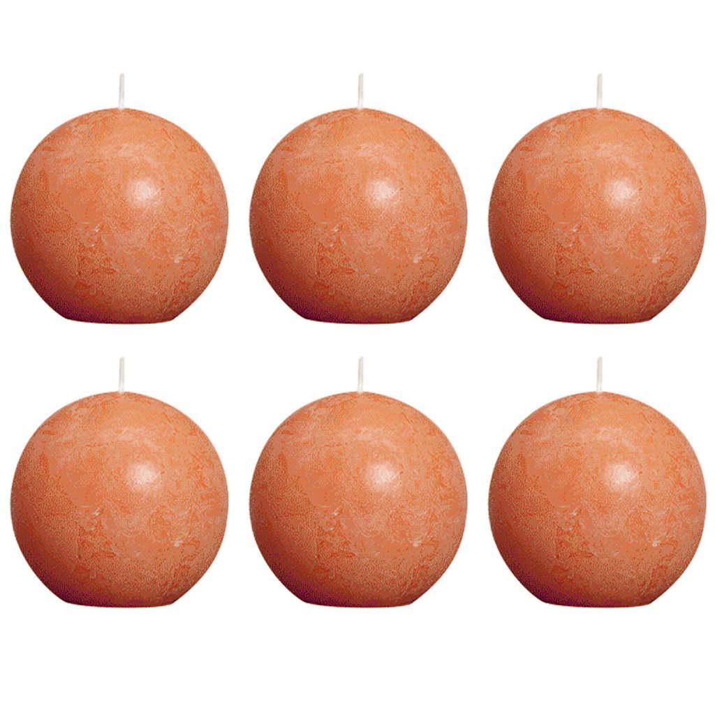 Bolsius Pallokynttilät 6 kpl rustiikkinen 80 mm Oranssi