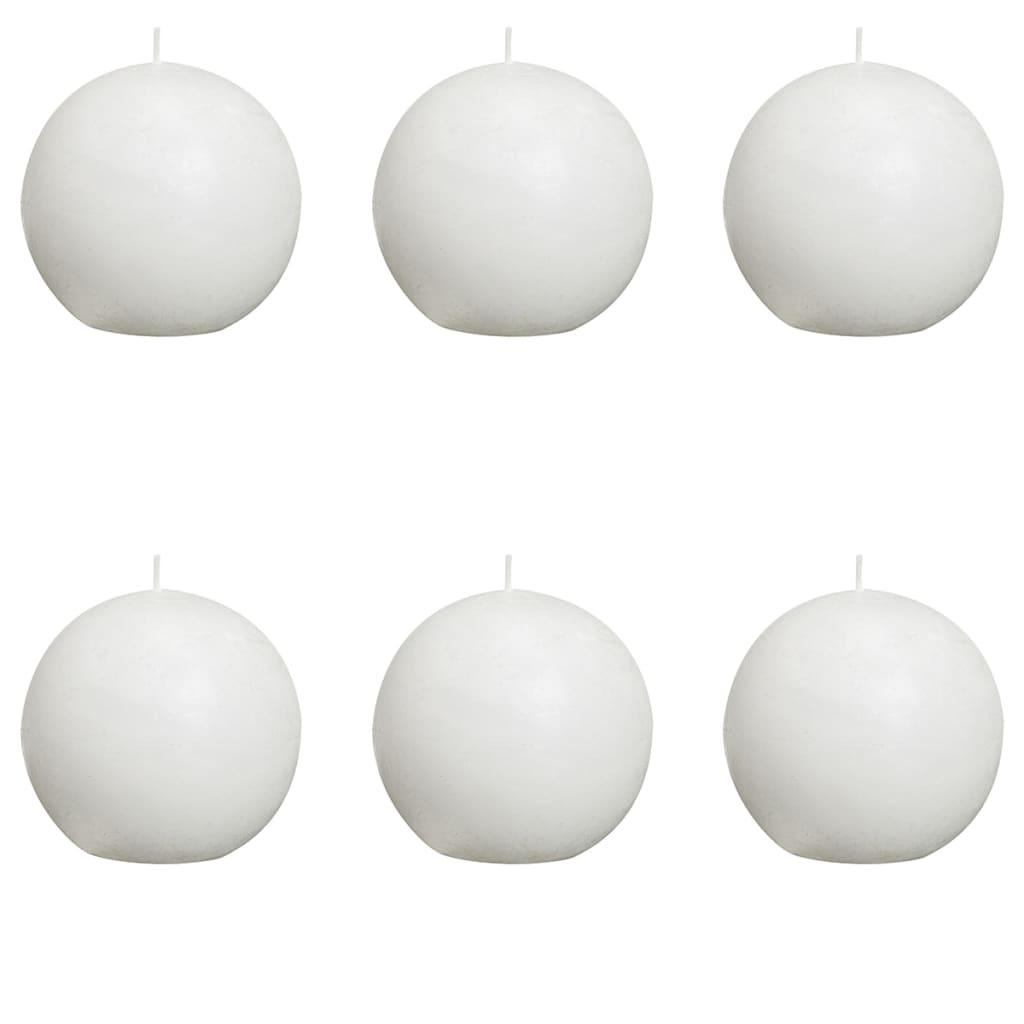 Bolsius Pallokynttilät 6 kpl rustiikkinen 80 mm Valkoinen