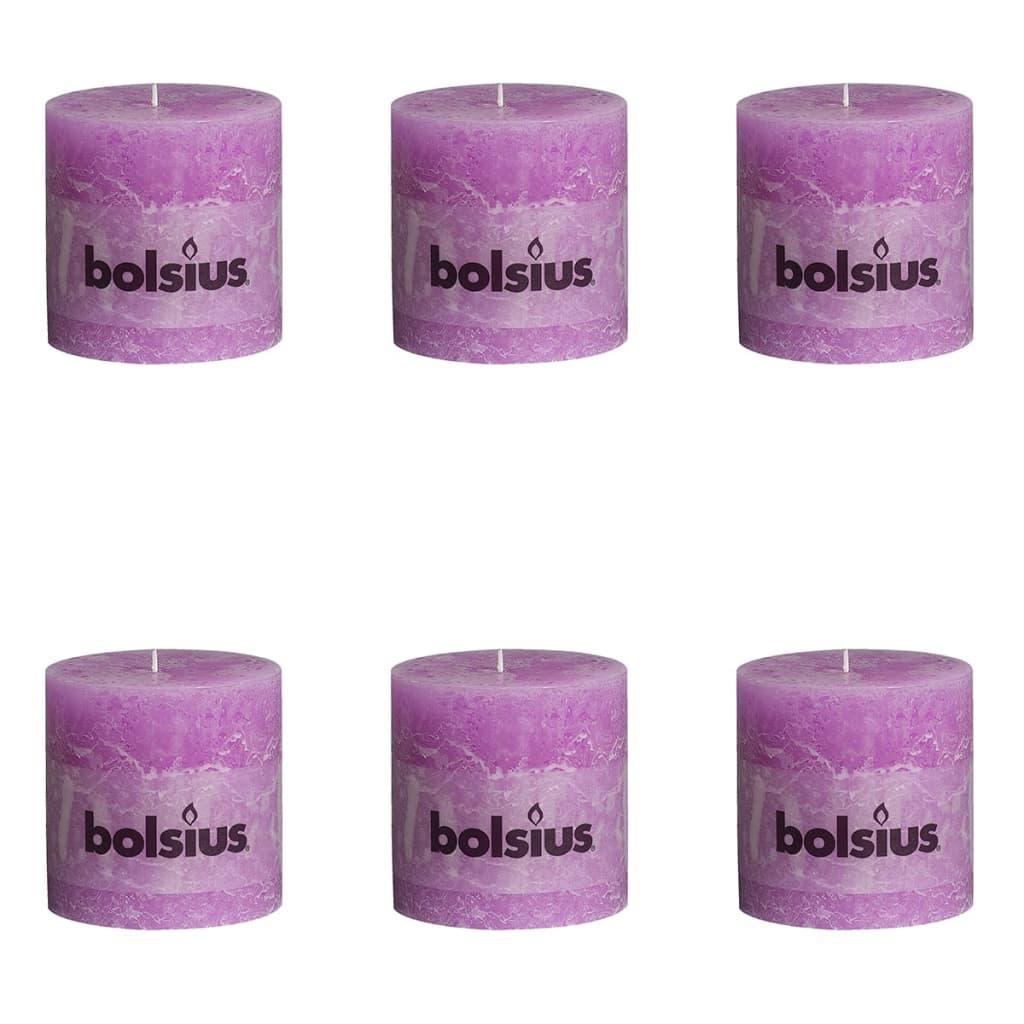 Bolsius Pilarikynttilät 6 kpl rustiikkinen 100x100 mm Violetti