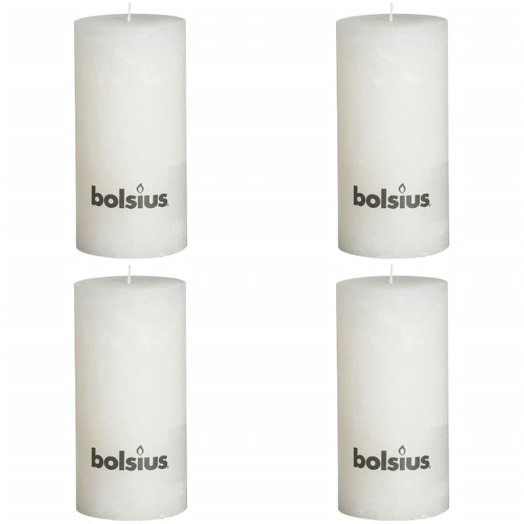 Bolsius Pilarikynttilät 4 kpl rustiikkinen 200x100 mm Valkoinen