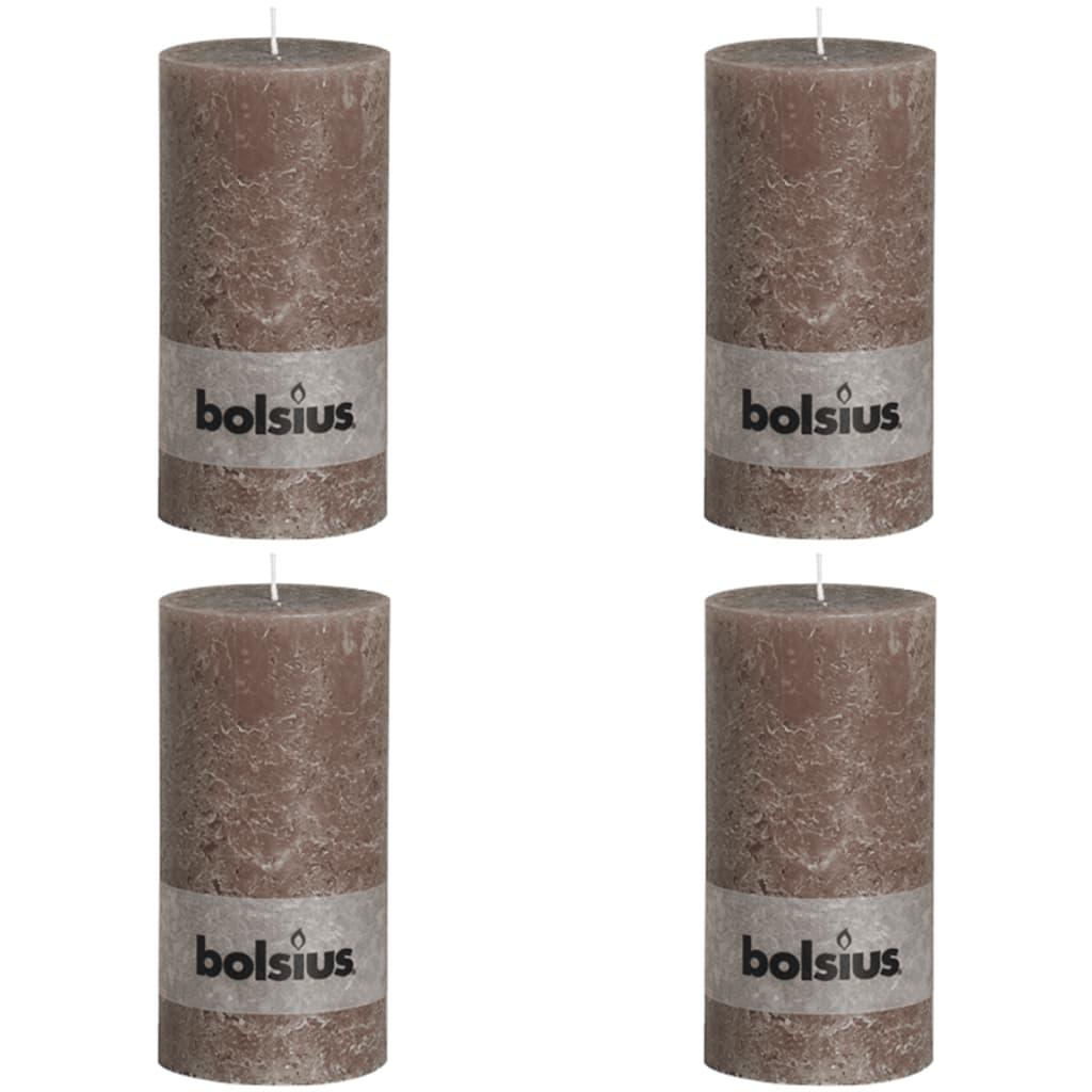 Bolsius Pilarikynttilät 4 kpl rustiikkinen 200x100 mm Taupe