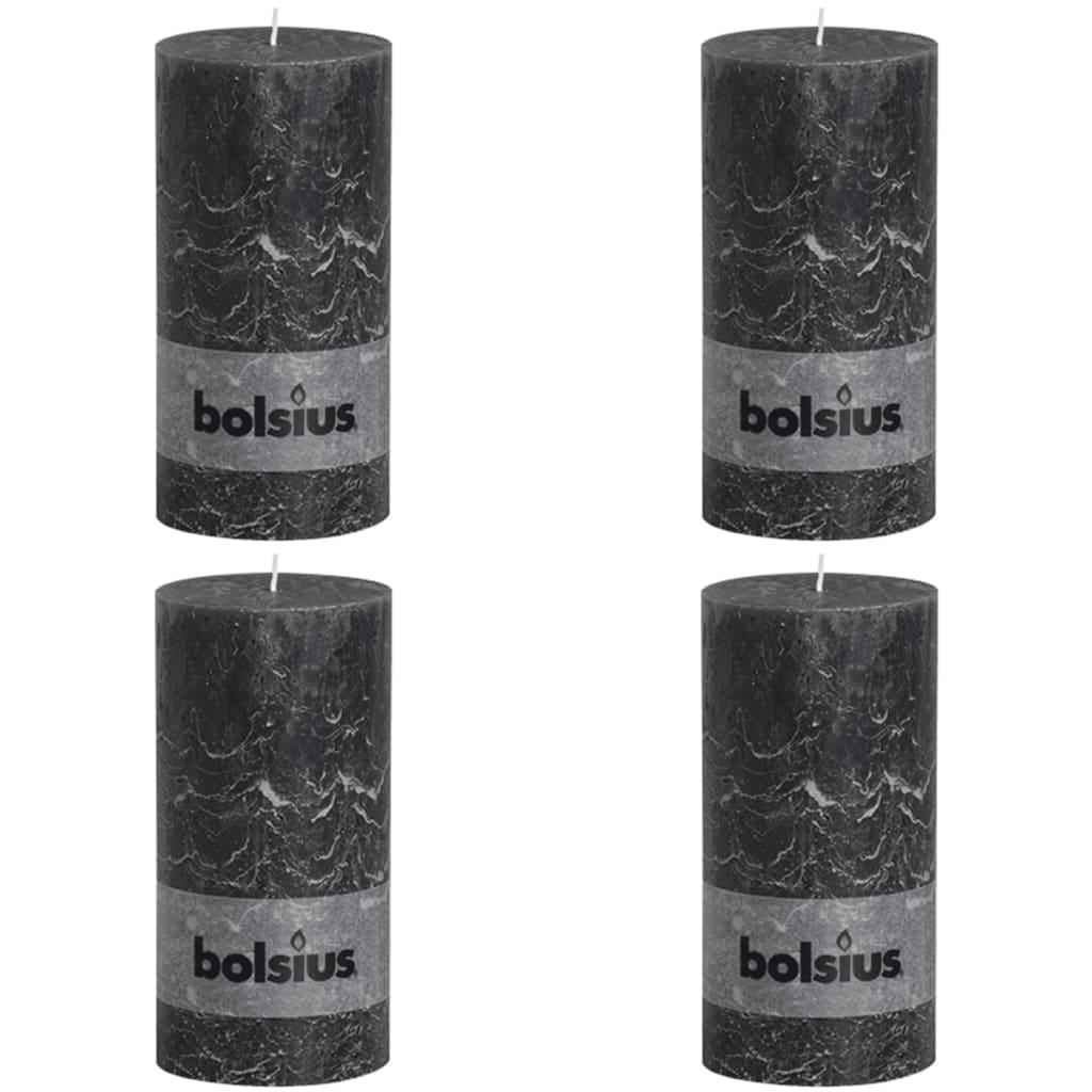 Bolsius Pilarikynttilät 4 kpl rustiikkinen 200x100 mm Tummanharmaa