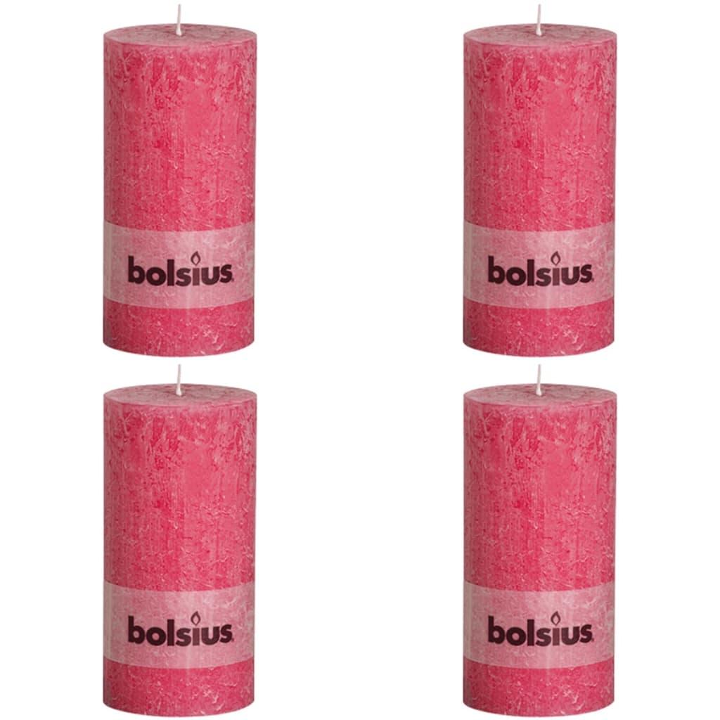 Bolsius 4 x  Rustiikki Pilarikynttilä 200 x 100 mm Fuksianpunainen