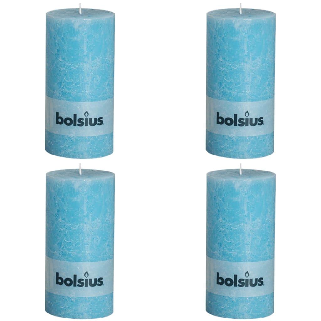 Bolsius 4 x  Rustiikki Pilarikynttilä 200 x 100 mm Sininen