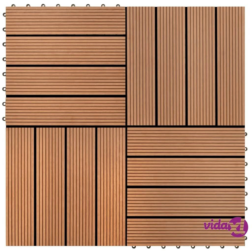 Image of vidaXL WPC Tiilet 30x30cm 11 kpl 1m2 Ruskea