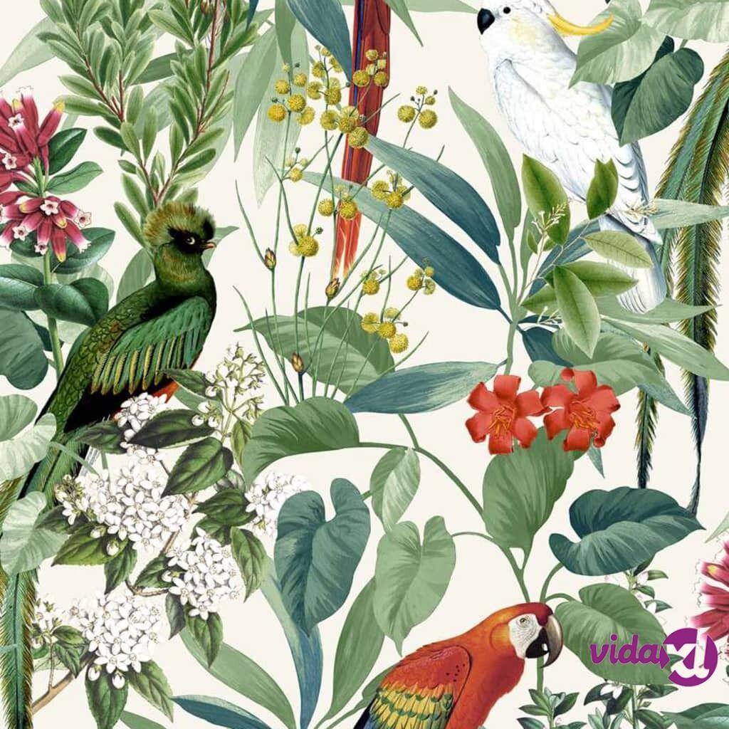 DUTCH WALLCOVERINGS Tapetti trooppiset linnut valkoinen ja vihreä
