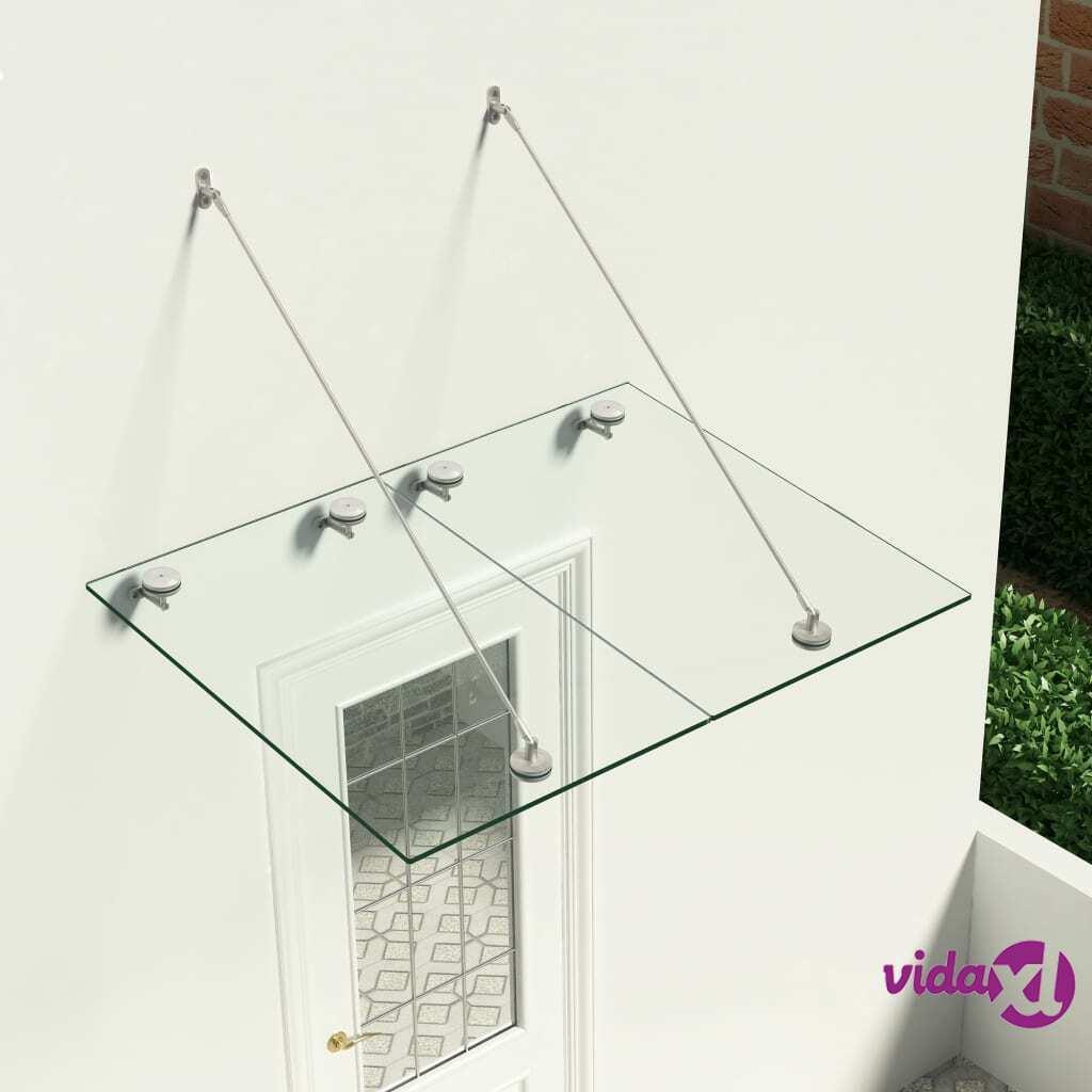 vidaXL VSG-turvalasi etuoven katos 120x90 cm ruostumaton teräs