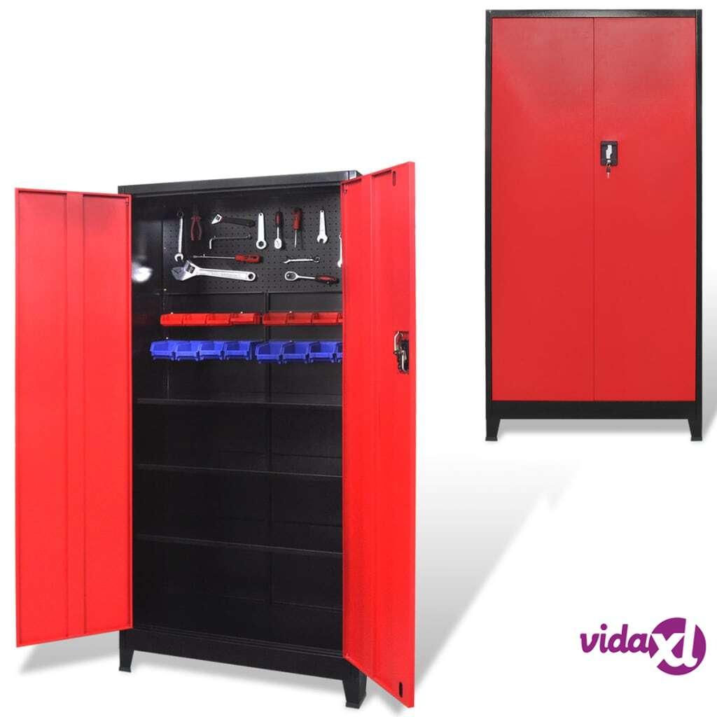 Image of vidaXL Työkalukaappi 2 ovella Teräs 90x40x180 cm Musta ja punainen