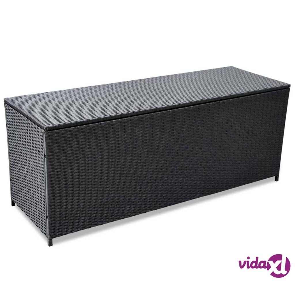 Image of vidaXL Puutarhan säilytyslaatikko musta 150 x 50 x 60 cm polyrottinki