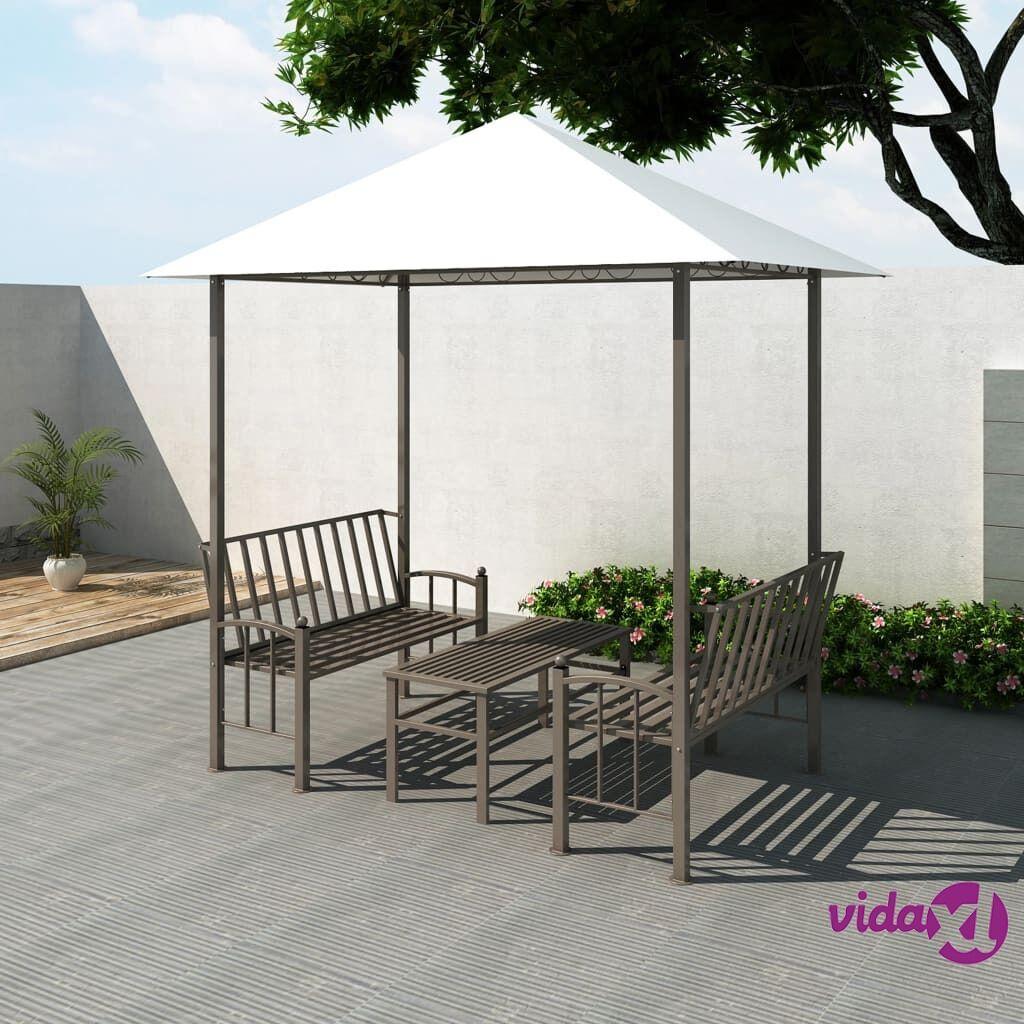 Image of vidaXL Puutarhapaviljonki pöydällä ja penkeillä 2,5x1,5x2,4 m
