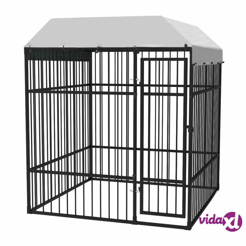 Image of vidaXL Lujatekoinen koiran ulkohäkki + katos 2x2 m