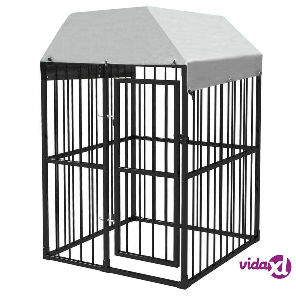 Image of vidaXL Lujatekoinen koiran ulkohäkki + katto 120x120 cm
