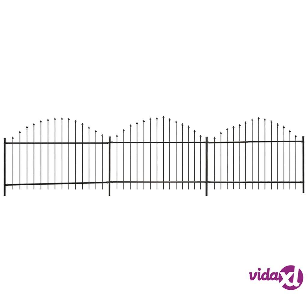 vidaXL Puutarha-aita keihäskärjillä (1-25-1,5)x6 m teräs Musta