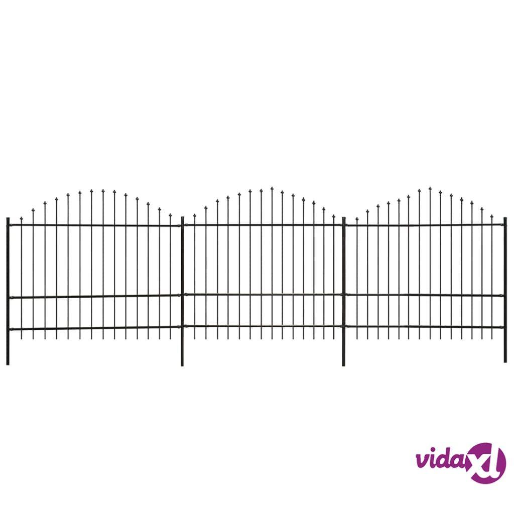 vidaXL Puutarha-aita keihäskärjillä (1,5-1,75)x6 m teräs Musta