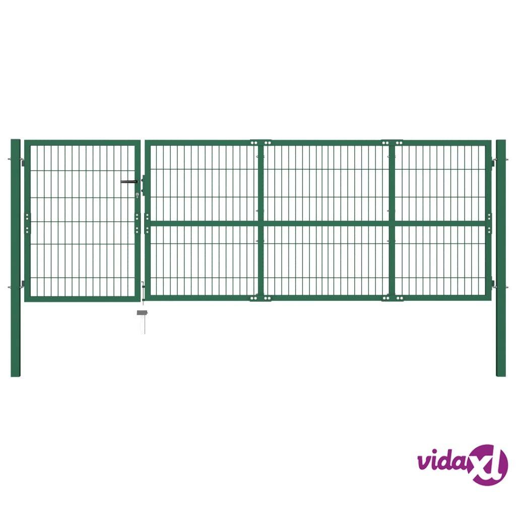 vidaXL Puutarha-aidan portti Tolpilla 350x100 cm Teräs Vihreä