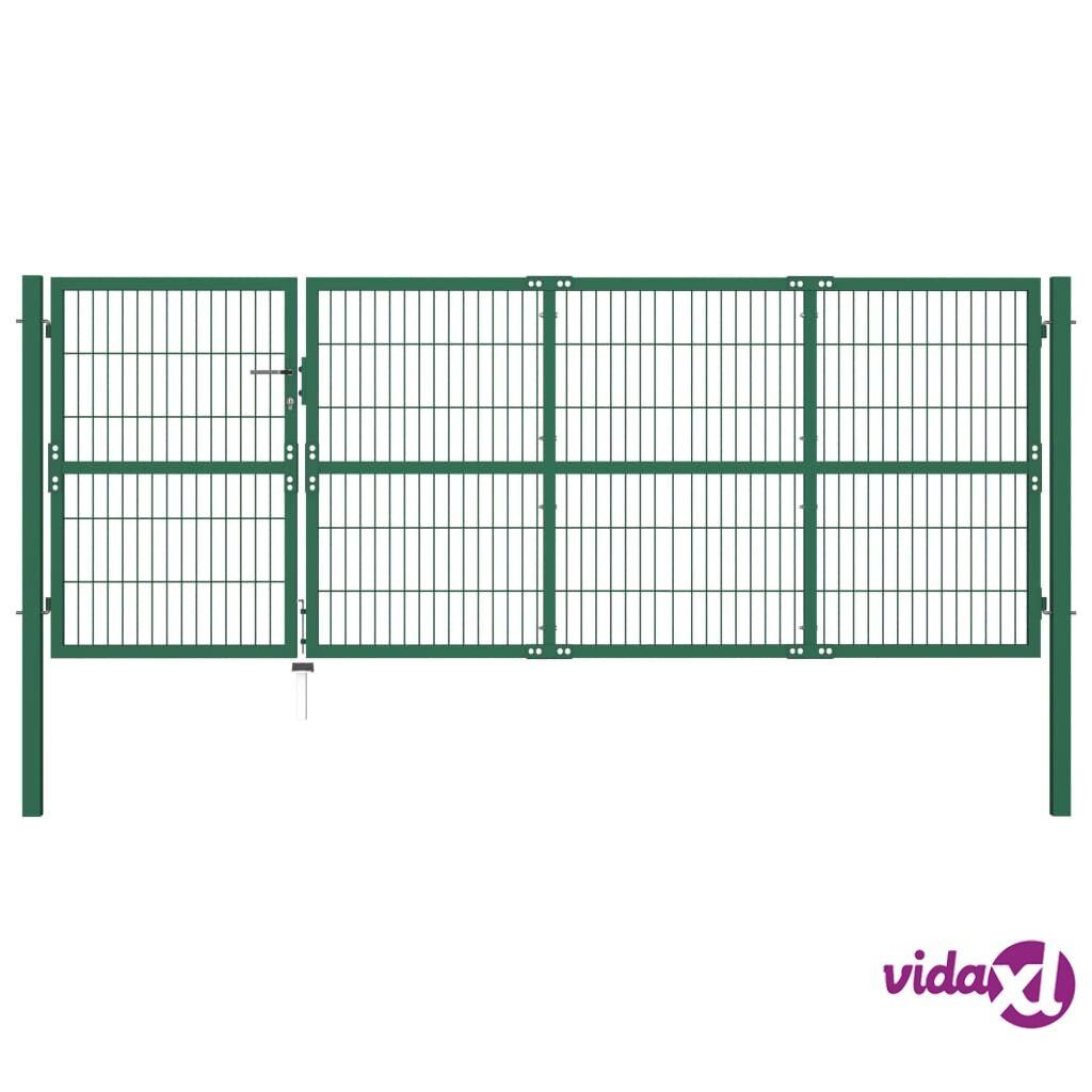 vidaXL Puutarha-aidan portti Tolpilla 350x120 cm Teräs Vihreä