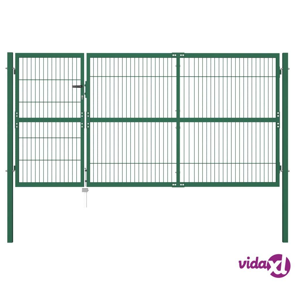 vidaXL Puutarha-aidan portti Tolpilla 350x140 cm Teräs Vihreä