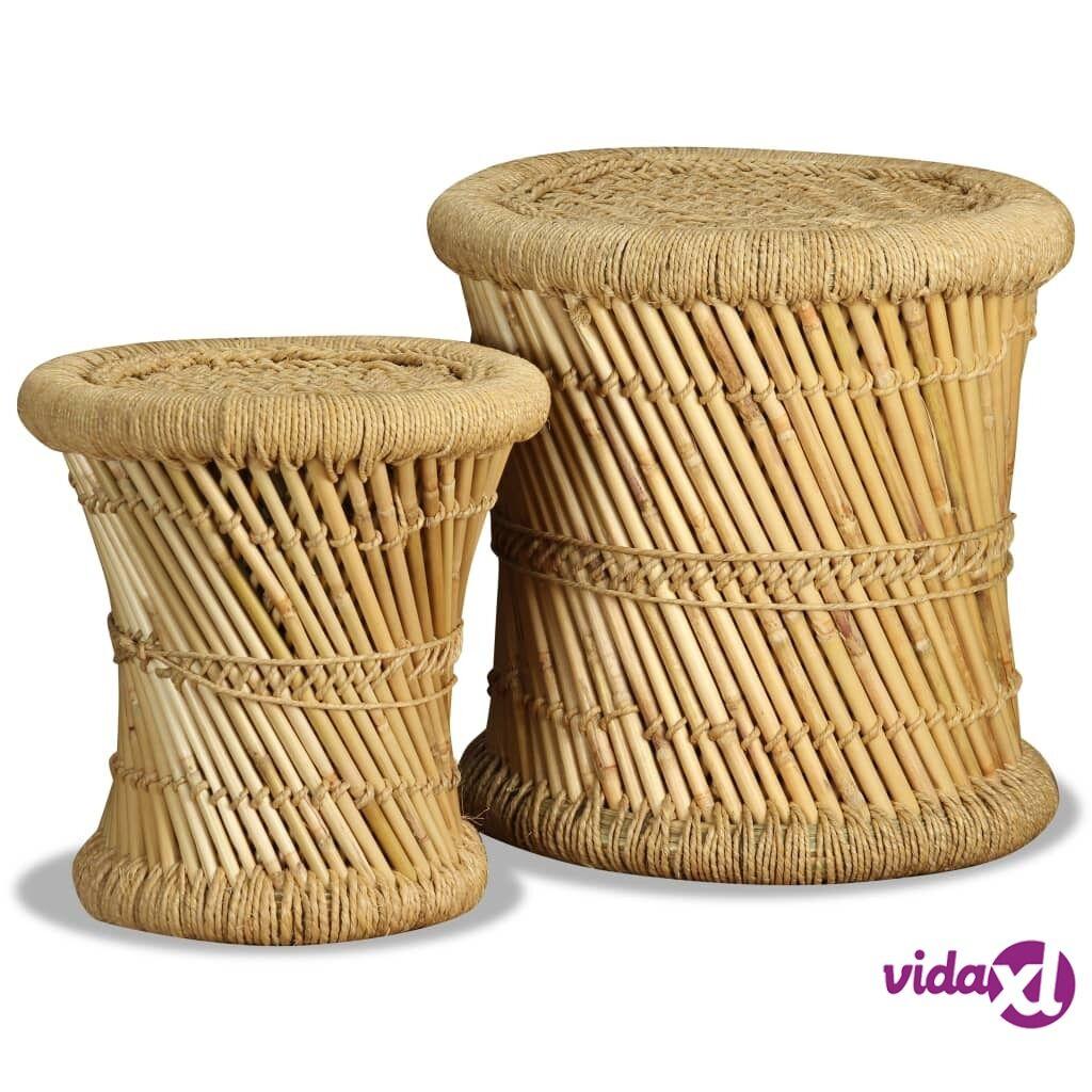 Image of vidaXL Jakkarasetti 2 kpl bambu ja juutti