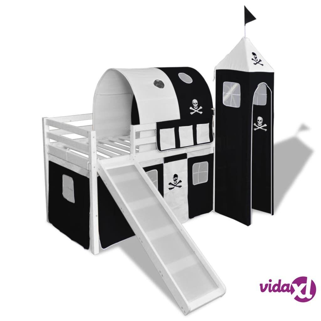 Image of vidaXL Lasten puinen parvisänky + liukumäki ja tikapuut Musta ja valk.