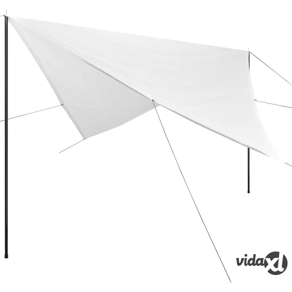 Image of vidaXL Aurinkovarjokangas tolpilla HDPE Neliö 4x4 m Valkoinen