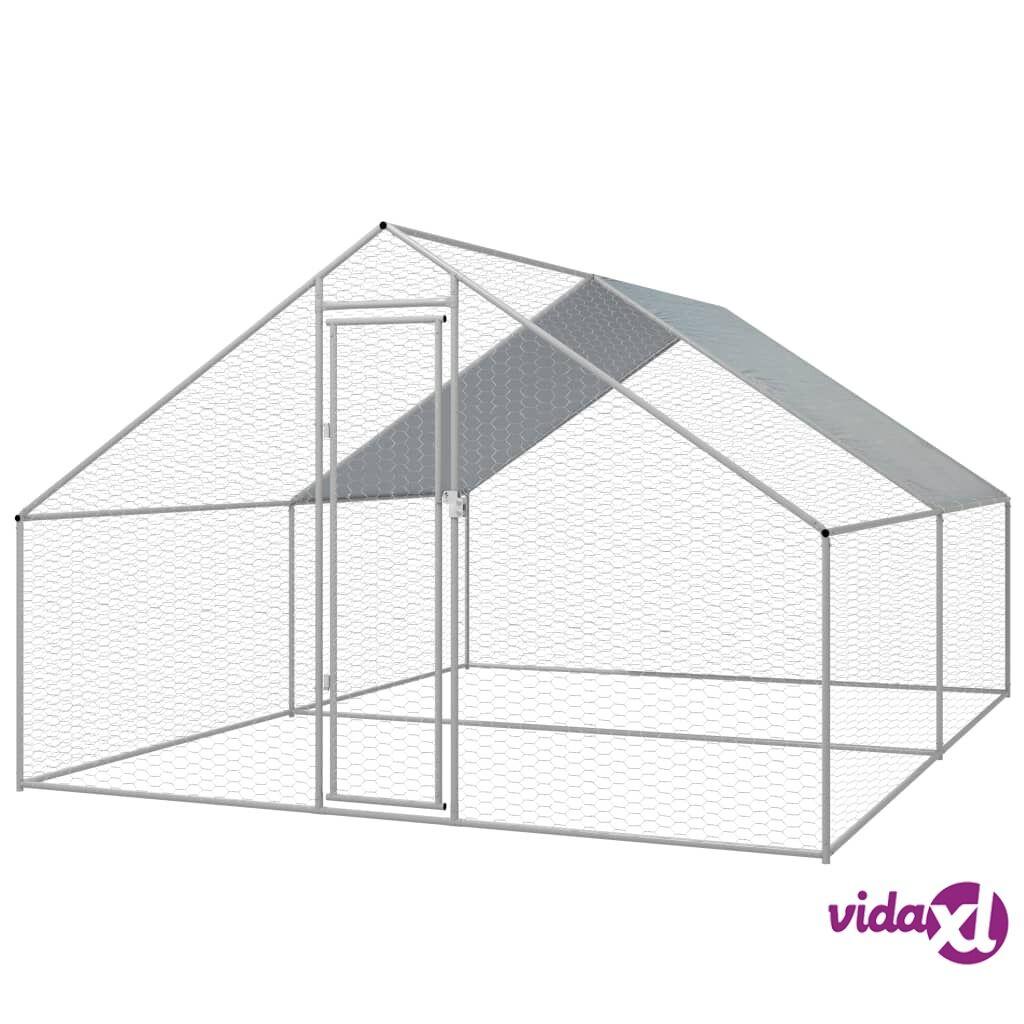 vidaXL Kanojen ulkohäkki galvanoitu teräs 3x4x2 m
