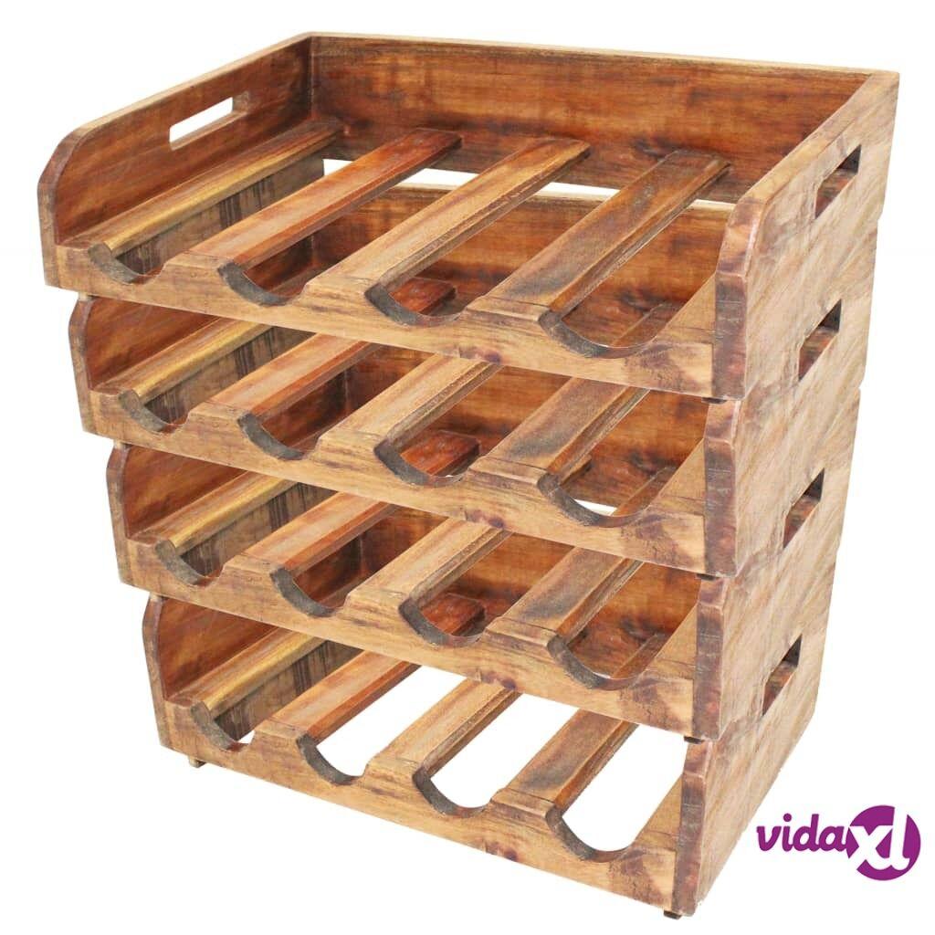 Image of vidaXL Viinipulloteline 4 kpl 16 pullolle Täysi kierrätetty puu