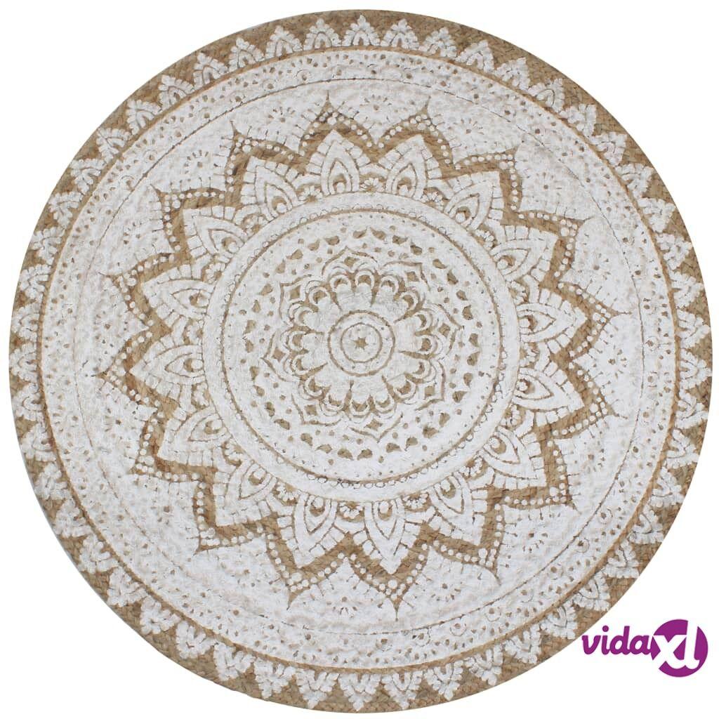 Image of vidaXL Pyöreä matto kuvioitu punottu juutti 90 cm