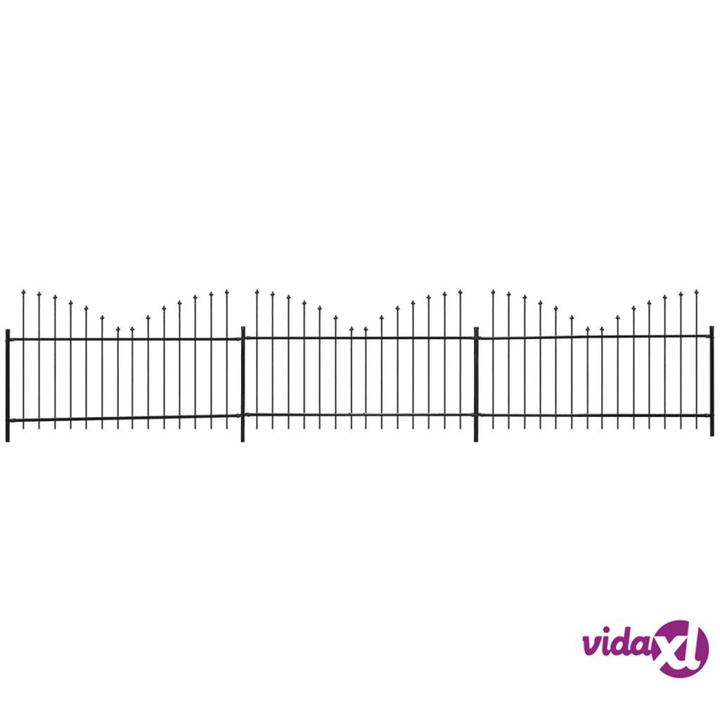 vidaXL Puutarha-aita keihäänkärjillä Käänteinen (0,75-1)x6 m Musta