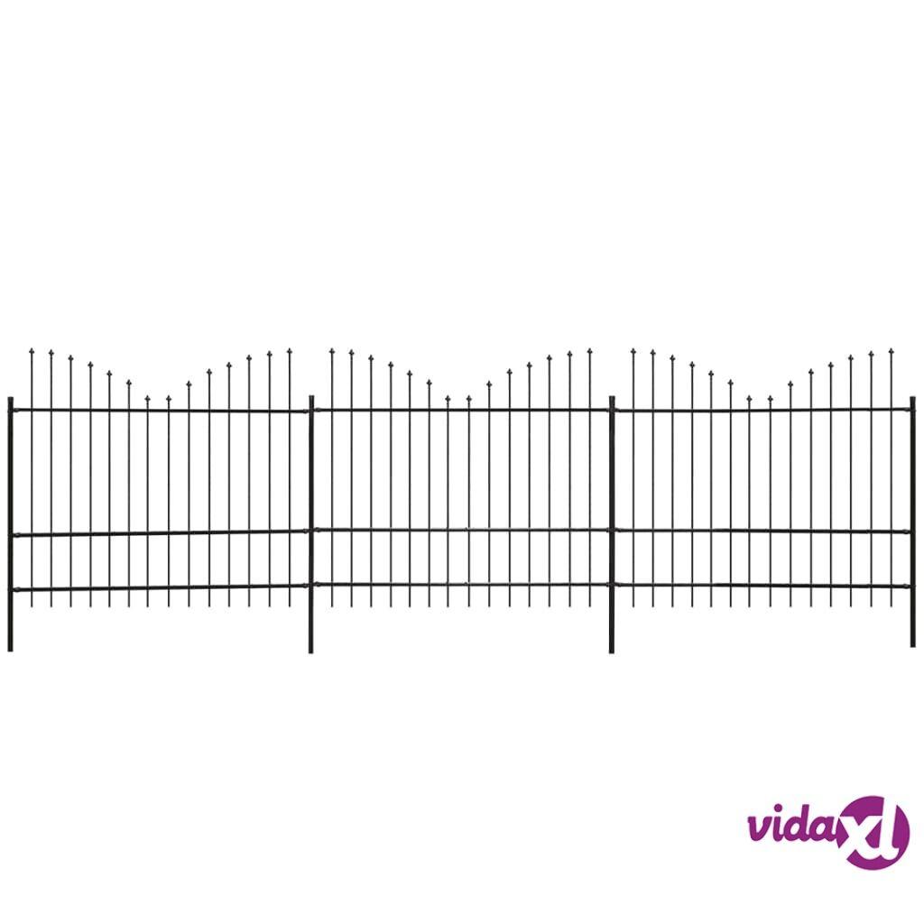vidaXL Puutarha-aita keihäänkärjillä Käänteinen (1,5-1,75)x6 m Musta