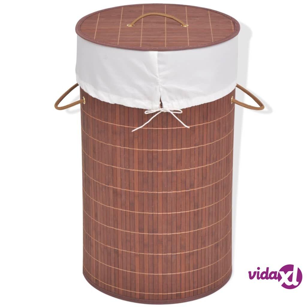 Image of vidaXL Pyykkikori bambu pyöreä ruskea